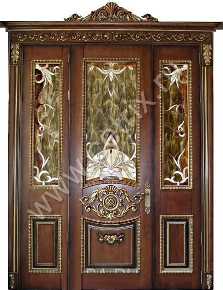 красивые входные металлические двери со стеклом двустворчатые